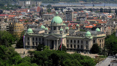 Вид с воздуха на Белград, Сербия