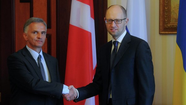 Встреча президента Швейцарии Дидье Буркхальтера с Арсением Яценюком 14 апреля 2014