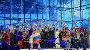 Артисты после выступлений в полуфинале 59-го международного конкурса песни Евровидение-2014 в Копенгагене.  Архив