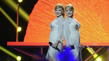 Представительницы России певицы Мария и Анастасия Толмачевы выступают на репетиции полуфинала 59-го международного конкурса песни Евровидение-2014 в Копенгагене