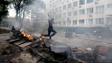 Пожар в здании УВД в Мариуполе 9 мая 2014