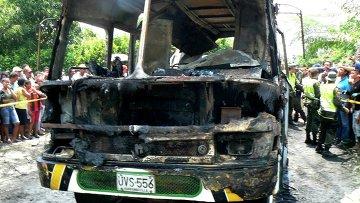 Возгорание автобуса в Колумбии