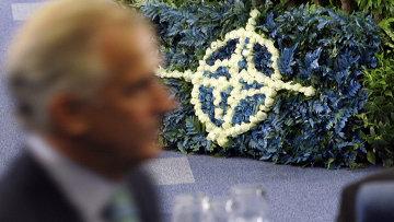 Мужчина проходит мимо логотипа НАТО, выложенного цветами. Архивное фото