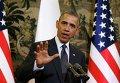 Президент США Барак Обама на  пресс-конференции в Варшаве 3 июня 2014