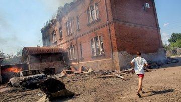 Последствия артиллерийских ударов по Славянску