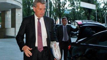 Еврокомиссар по энергетике Гюнтер Эттингер на экстренных переговорах по газу в Киеве