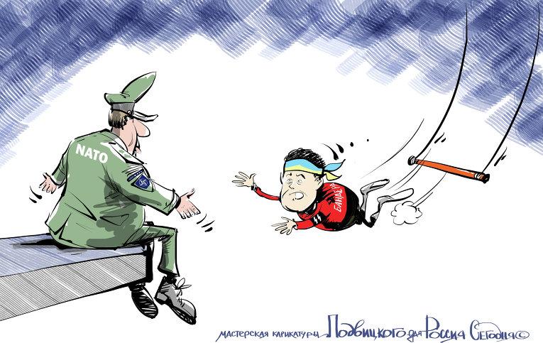 Украина – НАТО: генеральная репетиция – смертельный прыжок! Карикатура