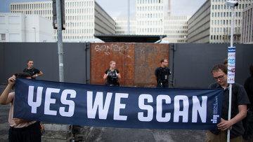 Протестующие у строящегося здания штаб-квартиры внешней разведки Германии (BND)