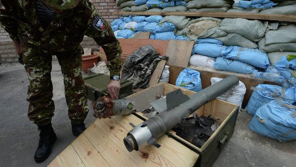 Фрагменты кассетных боеприпасов, применяемых Вооруженными силами Украины. Архивное фото
