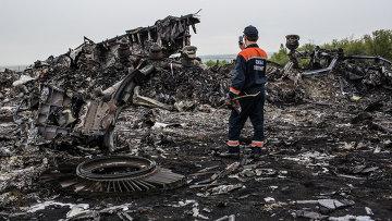 Обломки Boeing 777 компании Malaysia Airlines в районе села Грабовое в Донецкой области