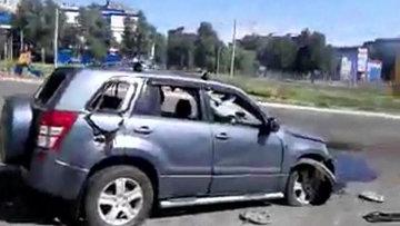 Последствия артиллерийского обстрела Донецка. Съемка очевидца