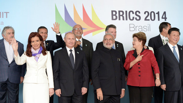 Президент Аргентины Кристина Фернандес де Киршнер во время торжественной церемонии фотографирования лидеров БРИКС 2014. Архивное фото