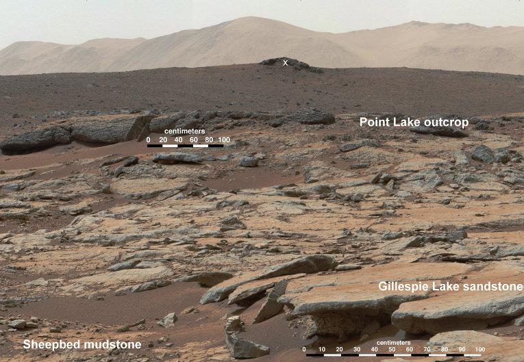 Снимок с марсохода Curiosity поверхности планеты Марс