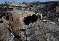 Дом в частном секторе на окраине Донецка, разрушенный артиллерийским обстрелом украинской армии