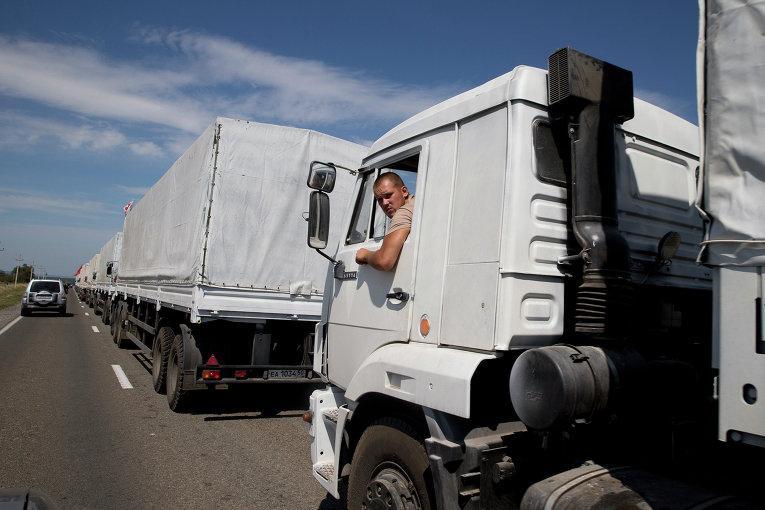 Водитель грузовика с гуманитарной помощью из РФ