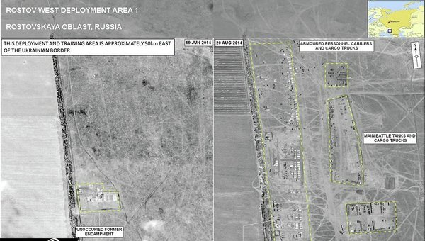 Спутниковые снимки от 19 июня и 20 августа, якобы доказывающие присутствие РФ на Украине