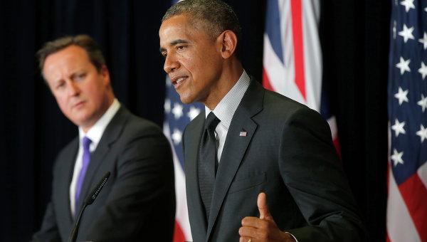 Президент США Барак Обама и премьер-министр Великобритании Дэвид Кэмерон участие в пресс-конференции . Архивное фото