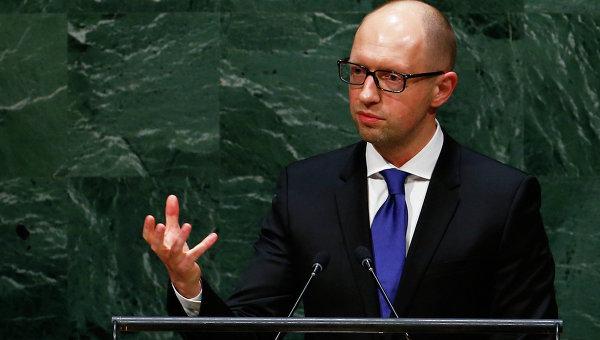 Премьер-министр Украины Арсений Яценюк на Генасамблее ООН в Нью-Йорке