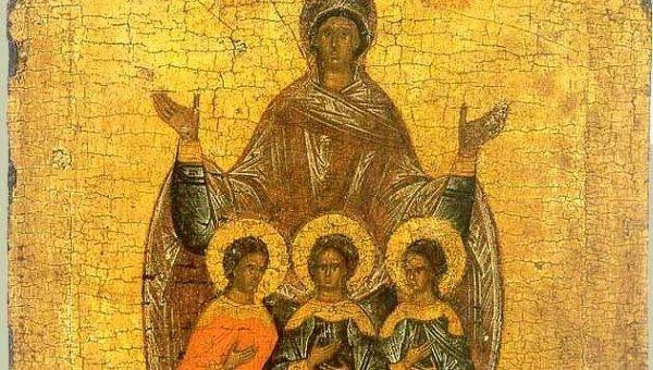Вера, Надежда, Любовь и матерь их София. Новгородская икона, XVI век