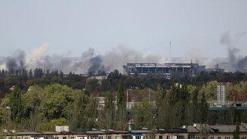 Дым в районе аэропорта Донецка
