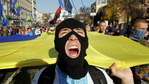 Активисты партии Свобода на митинге переде Верховной Радой Украины, в Киеве, 14 октября 2014