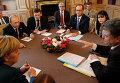 """Владимир Путин, Франсуа Олланд, Петр Порошенко и Ангела Меркель на встрече в рамках форума """"Азия-Европа"""" 17 октября 2014"""