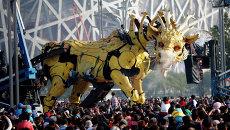 Механический лошадь-дракон The Long Ma на шоу в Пекине