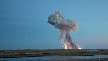 Момент взрыва ракеты-носителя Antares с космическим грузовиком Cygnus
