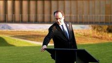 Президент Франции Франсуа Олланд на открытии мемориала воинам, павшим на полях сражений Первой мировой войны, в городе Аблен-Сен-Назер