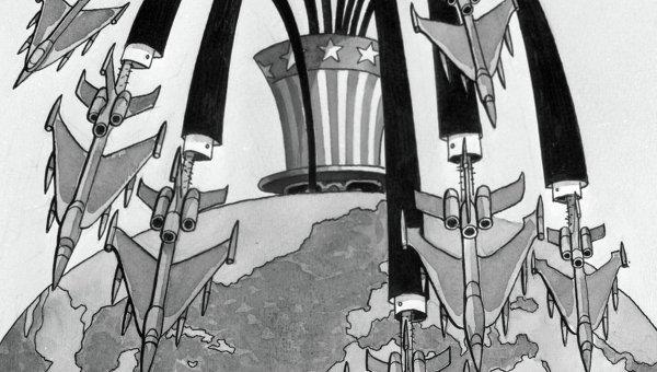 Репродукция карикатуры Извержение неоглобализма