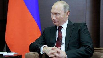 Президент России Владимир Путин во время встречи с президентом Абхазии в резиденции Бочаров Ручей