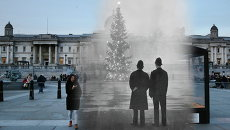 Коллаж из фотографий рождественского Лондона 1948 и 2014 годов. Трафальгарская площадь