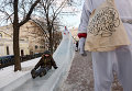 Ледяная горка на Рождественском бульваре в Москве