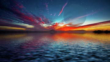 Художественное изображение океана супер-Земли