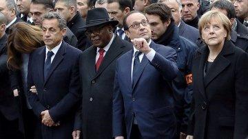 Политические деятели на марше памяти жертв терактов в Париже