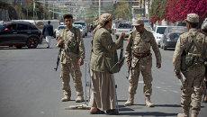 Повстанцы-хуситы на улице Саны, Йемен. Архивное фото