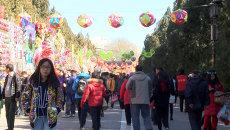 Желто-красные драконы танцевали на новогодней ярмарке в Пекине