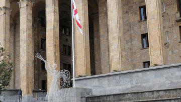 Мужчина с собакой на пробежке перед зданием парламента в Тбилиси