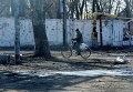 Местный житель на одной из улиц в поселке Октябрьский рядом с аэропортом города Донецка