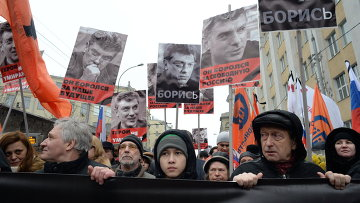 Траурный марш в память о политике Б.Немцове в Москве