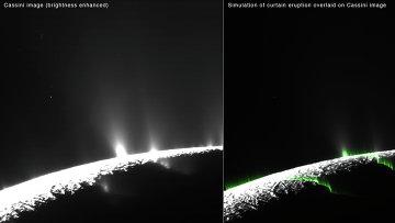 Слева – снимок с Кассини, справа – компьютерная модель, наложенная на фотографию