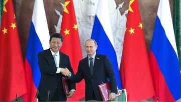 Подписание совместных документов и заявления В.В.Путина и Си Цзиньпина для прессы. Архивное фото