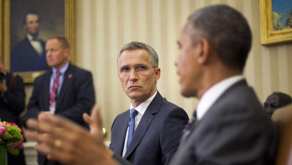 Генеральный секретарь НАТО Йенс Столтенберг и президент США Барак Обама