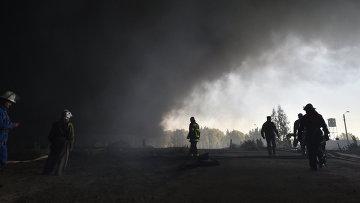 Пожар на нефтебазе в Киевской области. Архивное фото