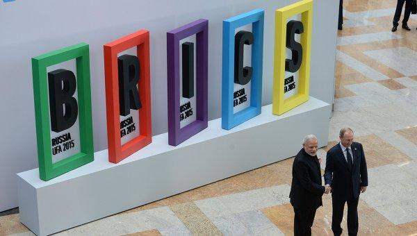 Владимир Путин и Нарендра Моди на церемонии приветствия лидеров БРИКС, архивное фото