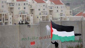 Протестующий против разделительной стены палестинец в окрестностях Рамаллы. Архивное фото