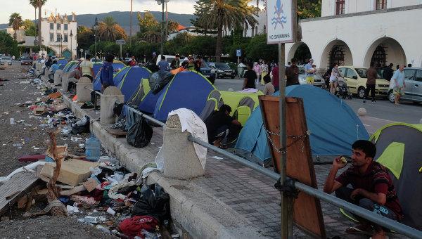 В лагере беженцев на острове Кос в Греции. Архивное фото