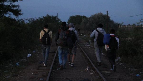 Беженцы переходят границу  Венгрии. архивное фото