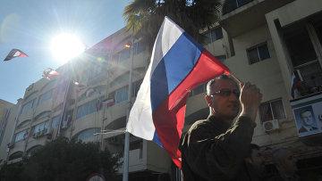 Митинг в поддержку российской военной операции в городе Тартус (Сирия). Архивное фото