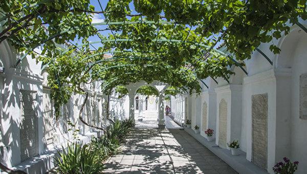 Виноградный дворик в караимских кенассах в Евпатории, Крым